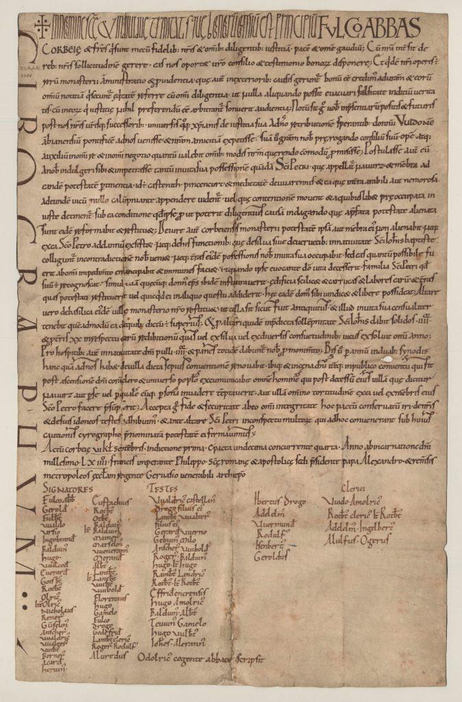 charte de Corbie de l'année 1064 - Archives départementale de la Somme